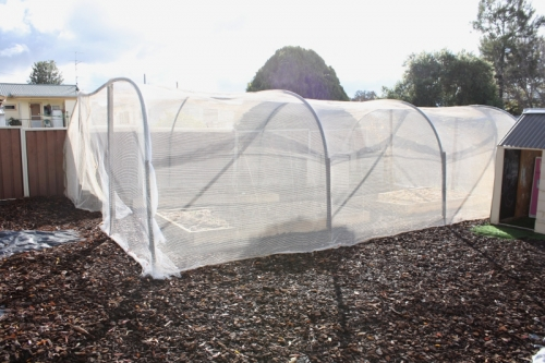 Here We Have The Vegetable Garden Bird Netting Stretched Over Ag Pipe Just Did This With Tie Wire Also Used Weed Mat Spikes At Base To Hold